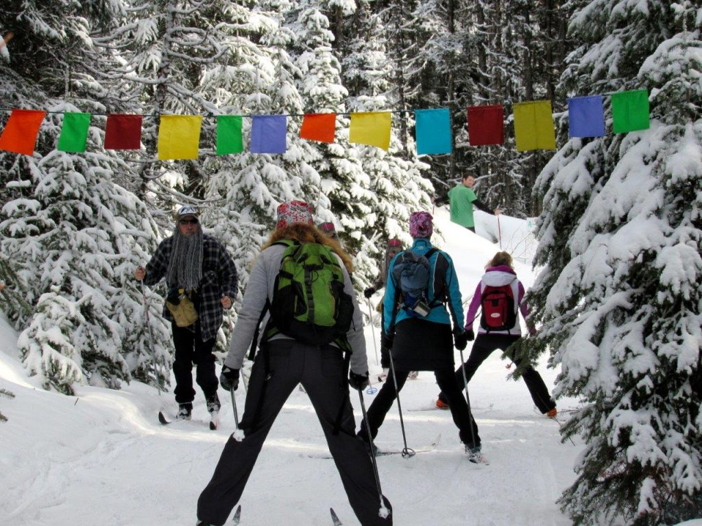 Cross-country skiiers on the trails in Wells during the Gourmet Ski